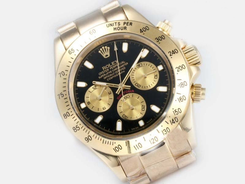 Luxurious Replica Rolex Cosmograph Daytona Watches in Gold with Oysterflex Rubber Strap